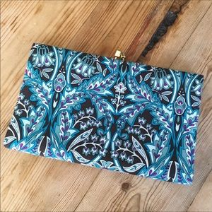Banana Republic Turquoise Blue Floral Silk Clutch